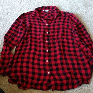 Soft Red Plaid Button Up